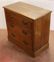 1920s 3 Drawer Satin Walnut Chest Drawers (3 of 4)
