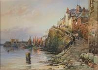 Walter Henry Sweet - Antique Watercolour - Newlyn Old Harbour (2 of 6)