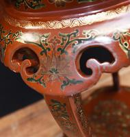 Chinese Pedestal Stand Table in Cinnabar Lacquer Chinoiserie (21 of 26)