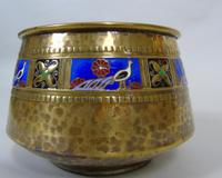 WMF Art Nouveau Planished Brass & Enamel Planter Jardiniere Albert Meyer (3 of 8)