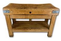 Early 20th c Butchers Block On Pine Stand