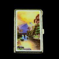 English Solid Silver Enamel Cigarette Case with Landscape Scene - A.J.P London 1927 (2 of 14)