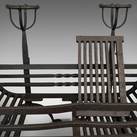 Antique Fire Basket, Pair of Andirons, English, Iron, Fireside, Victorian, 1900 (8 of 12)