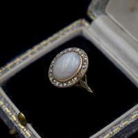 Antique Natural Opal & Rose Cut Diamond Halo 18ct 18k Yellow Gold Ring (3 of 8)