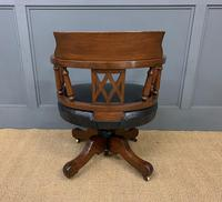 Victorian Mahogany & Leather Revolving Desk Chair (8 of 11)