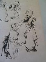 """William Papas """" Inn Keeper  """" Ink Drawing 1970's - 2 of 6 Listed (4 of 7)"""