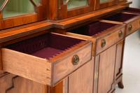 Antique Yew Wood Sheraton Style Breakfront Bookcase (6 of 12)