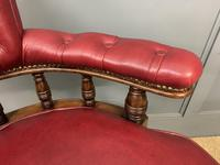 Victorian Leather Upholstered Revolving Desk Chair c.1885 (7 of 16)