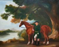 Lovely Large Primitive School Rococo Framed Oil Portrait Painting Horse & Rider (10 of 13)