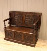 Late Victorian Solid Carved Oak Monks Bench (5 of 12)