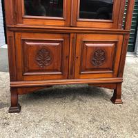 Antique Arts & Crafts Carved Walnut Bookcase (13 of 13)
