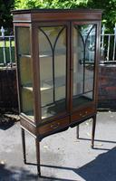 1920s Mahogany 2 Door Glass China Cabinet with Drawers (4 of 5)