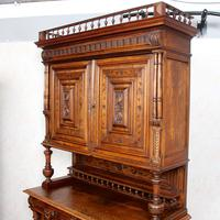 Large German Carved Walnut Bookcase Cabinet 19th Century (8 of 14)