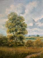 Original 20th Century Vintage English Farmland Country Landscape Oil on Canvas Painting (7 of 14)