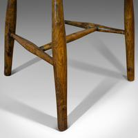 Antique Stick Back Chair, English, Elm, Beech, Station Seat, Victorian c.1870 (7 of 12)