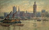 William Henry Harford - Houses of Parliament Riverscape Painting 19th Century (2 of 10)