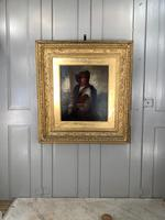 Antique Re-Raphaelite oil painting portrait of a young man with violin (2 of 2) (10 of 10)