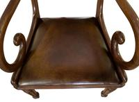 Mahogany Scroll Armchair with Brown Leather Seat (2 of 7)