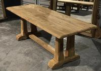 French Bleached Oak Trestle Farmhouse Dining Table (17 of 18)