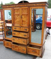 1900's Large Well Fitted Burr Oak Compactum Wardrobe (4 of 6)