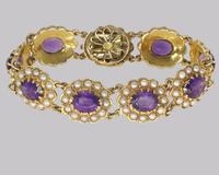 Victorian Amethyst & Seed Pearl Bracelet 9ct Gold Antique Bracelet c.1890 (11 of 11)