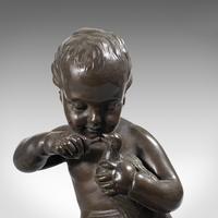 Antique Putto Statue, French, Bronze, Cherub Figure c 1900 (7 of 12)