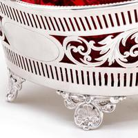 Silver Plated Boat Shaped Silver Basket with Cranberry Glass Liner (4 of 7)