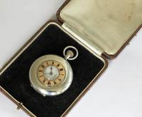 Antique Silver & Rose Gold Electa Half Hunter Pocket Watch (2 of 6)