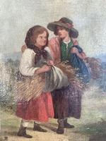 Antique oil painting study of peasant girls carrying sheaves of corn (5 of 10)