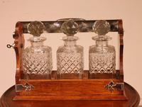 Liquor Cellar / Tantalus In Silver Metal And Oak Three Crystal Bottles - 19th Century (9 of 10)