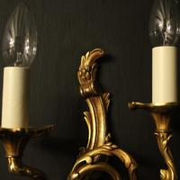 French Set of 4 Gilded Opposing Twin Arm Wall Lights (8 of 9)