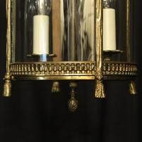 French Convex Gilded Twin Light Antique Lantern (9 of 10)