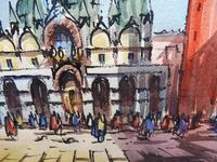 Set of 4 Watercolours Venice by Sirrol listed artist Aka Antonio Sirolli 1950s (9 of 10)