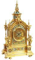 Incredible Antique French Champlevé Ormolu Bronze 8 Day Striking Mantel Clock c.1860 (13 of 13)
