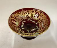 Antique Enamelled Ruby Glass Pedestal Dish c.1895 (2 of 6)