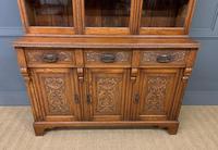 Victorian Carved Oak 3 Door Bookcase (7 of 23)