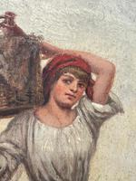 """Pair of Victorian Oil Paintings """"Cockle Pickers"""" Female Figures on Beach Shoreline (13 of 33)"""