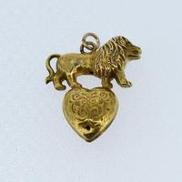 Antique 9ct 9K Yellow Gold Lion & Pearl Heart Pendant Charm (6 of 8)