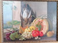 19th Century Still Life with Grapes, Pumpkin, Tomatoes Oil on Canvas (8 of 12)
