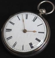 Antique Silver Pair Case Pocket Watch Fusee Lever Escapement Key Wind Enamel Dial Nice (4 of 6)