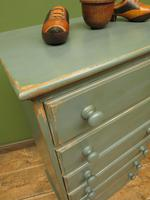 Painted Narrow Blue Pine Chest of Drawers, Shabby Chic (11 of 11)
