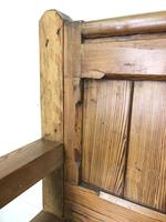 Pitch Pine and Oak Settle Bench with Drawers (M-1475) (4 of 11)