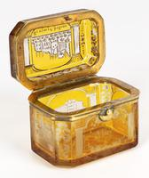 Bohemian Antique Engraved Metal Mounted Overlay Yellow Glass Sugar Casket 19th Century (10 of 19)