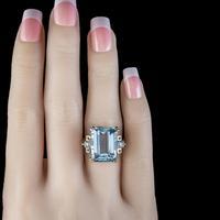 Vintage Aquamarine Diamond Ring 14ct Gold 12ct Emerald Cut Aqua (5 of 8)