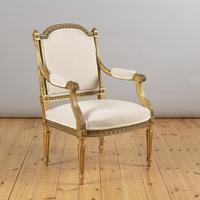 Pair of Large 19th Century Louis XV1 Style French Gilt Armchairs (6 of 10)