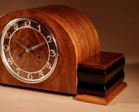 Art Deco Walnut & Ebonised Mantel Clock c.1930 (2 of 7)