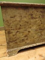 Large Antique Old Painted Green Distressed Pine Trunk Chest, Rustic Blanket Box (5 of 18)