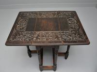 Carved Oak Leaf & Acorn Side Occasional Gateleg Table (9 of 10)