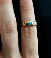 Antique Turquoise & Pearl Ring, 9ct Gold (10 of 11)
