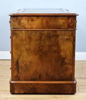 19th Century Victorian Burr Walnut Pedestal Desk (9 of 18)